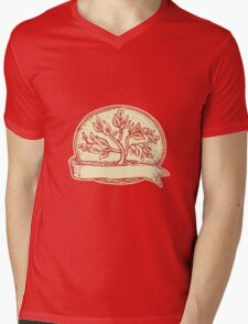 Olive Tree Ribbon Oval Etching Mens V-Neck T-Shirt