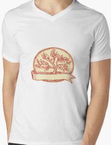 Olive Tree Ribbon Oval Etching Mens V-Neck T-Shirt