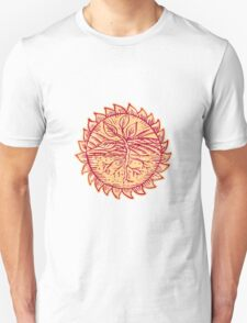 Plant Roots Field Sun Etching T-Shirt