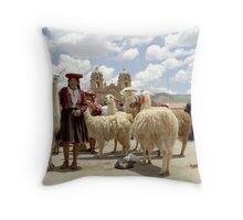 Llamas and Farmers Throw Pillow