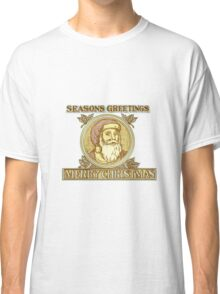 Santa Claus Father Christmas Holly Etching Classic T-Shirt