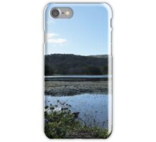 Blue flowers, mountains, & water. 'Lake Clarie Hall' Hinterland, far nth. Coast. N.S.W.  iPhone Case/Skin