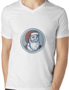 Santa Claus Father Christmas Vintage Etching Mens V-Neck T-Shirt