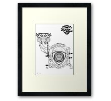Mazda Rotary Engine Blueprint for Power 13B Framed Print
