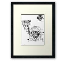 Mazda Rotary Engine Blueprint for Power 13B Framed Print