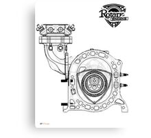 Mazda Rotary Engine Blueprint for Power 13B Canvas Print