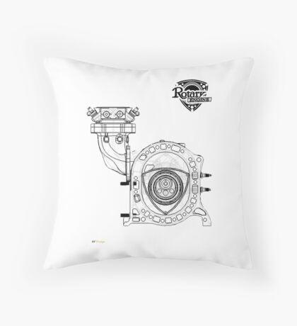 Mazda Rotary Engine Blueprint for Power 13B Throw Pillow