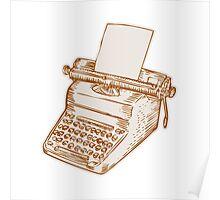 Vintage Old Style Typewriter Etching Poster