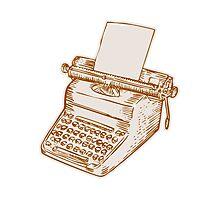 Vintage Old Style Typewriter Etching Photographic Print