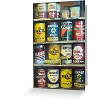 Vintage Motor Oil Can Collection Greeting Card