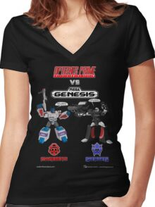 Transformers: Console Wars - OptiSNES vs. MegaGen! TEXT Women's Fitted V-Neck T-Shirt