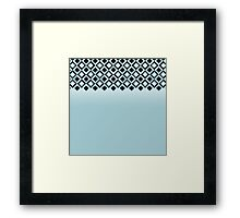 Baby Blue with Black Geometric Ornate Squares Framed Print