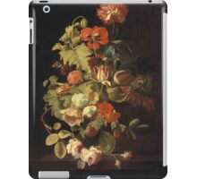 Simon Pietersz Verelst - Carnation, iris, roses, tulips and other flowers in glass vase on a stone ledge  (17th century) iPad Case/Skin