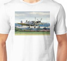 Two Spitfires taking off at Duxford Unisex T-Shirt