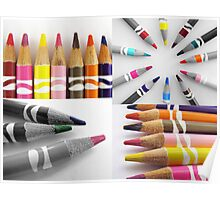Colored Pencils Collage Poster