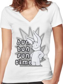 Bun Bun Fun Time! Monochrome Women's Fitted V-Neck T-Shirt