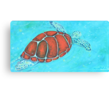 Turtle swimming in the ocean Canvas Print