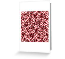 Neon Red Zigzag on Black and White Floral Print Greeting Card