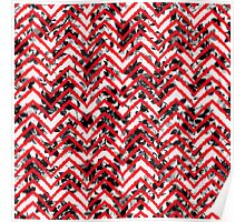 Neon Red Zigzag on Black and White Floral Print Poster