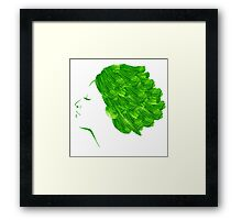 Girl green watercolor Framed Print