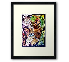 The rooster, fish, cat, and man in the moon Framed Print