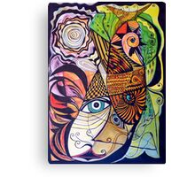 The rooster, fish, cat, and man in the moon Canvas Print