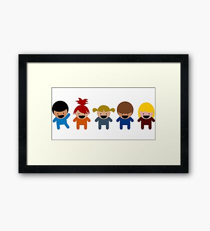 Cartoon Kid Characters Framed Print