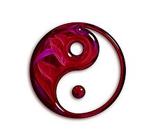 Red Abstract Glass Yin Yang Symbol Photographic Print