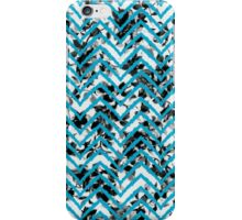 Neon Blue Zigzag on Black and White Floral Print iPhone Case/Skin