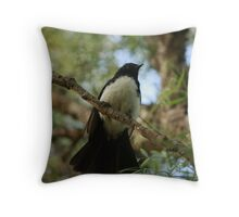 Wagtail in the Brush Throw Pillow