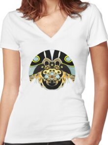 Psychedelic Beetle Women's Fitted V-Neck T-Shirt