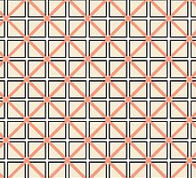 Coral Peach, Black, and White Elegant Geometric by Blkstrawberry