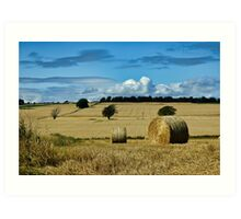 Countryside hay stack landscape Art Print