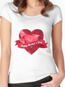 Happy Mother's Day heart pattern Women's Fitted Scoop T-Shirt