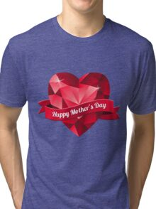 Happy Mother's Day heart pattern Tri-blend T-Shirt