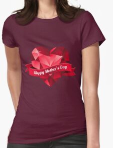 Happy Mother's Day heart pattern Womens Fitted T-Shirt