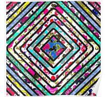 Vibrant Floral Print Square Stripes Poster