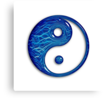 Blue Glass Yin Yang Symbol Canvas Print