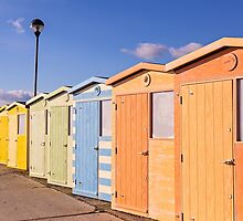 Pretty pastel beach huts at Seaford by Zoe Power