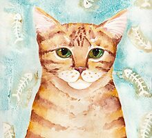 Watercolor Ginger Tabby by Ryan Conners