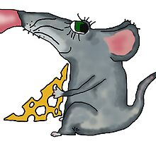 mouse holding cheese by Sergieiev