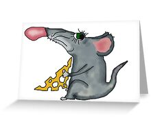mouse holding cheese Greeting Card