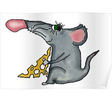 mouse holding cheese Poster