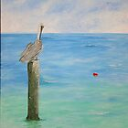 Pelican and float by Linda Ridpath