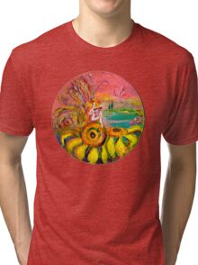 FAIRY OF THE SUNFLOWERS PLAYING LYRA Tri-blend T-Shirt