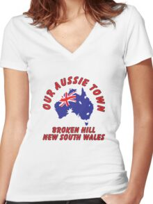 Broken Hill NSW Women's Fitted V-Neck T-Shirt