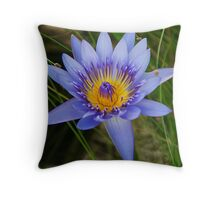 Blue Lilly Throw Pillow