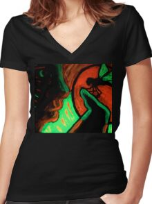 Trip-O-Vision Online Gallery Design 44:Looking face to face Painting Women's Fitted V-Neck T-Shirt