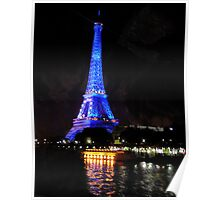 Eiffel Tower in blue light Poster