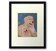 Golden Memory Portraits of Two Golden Retrievers Framed Print